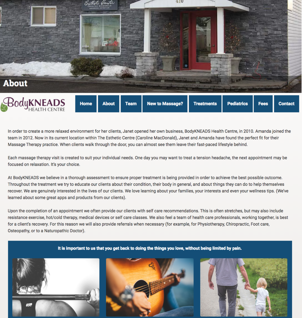 Web design for massage therapy