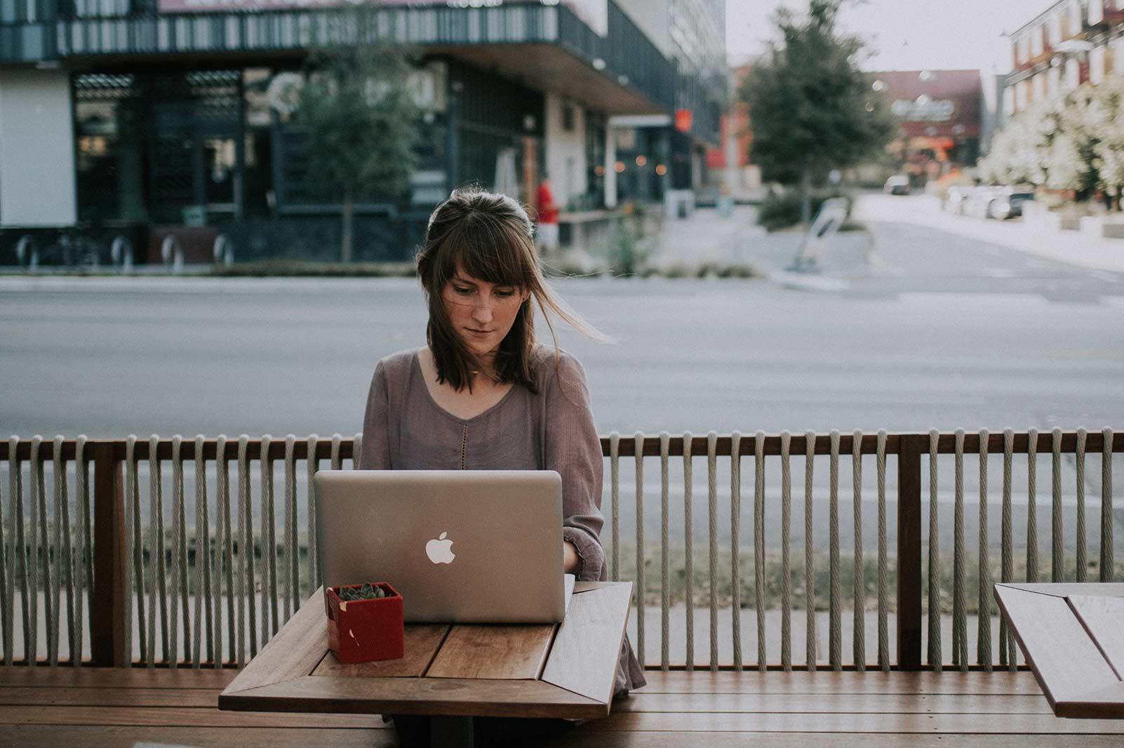 health wellness sitting at computer