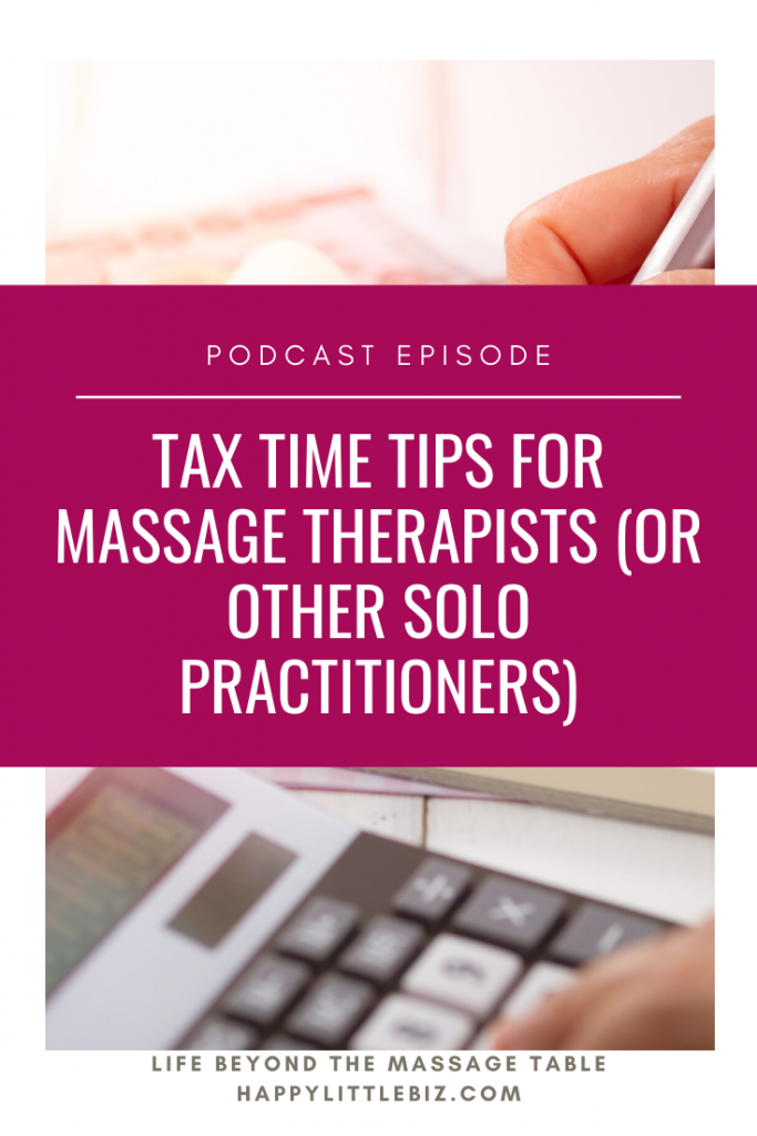 Tax time tips for massage therapists or other solo practitioners in health and wellness careers.