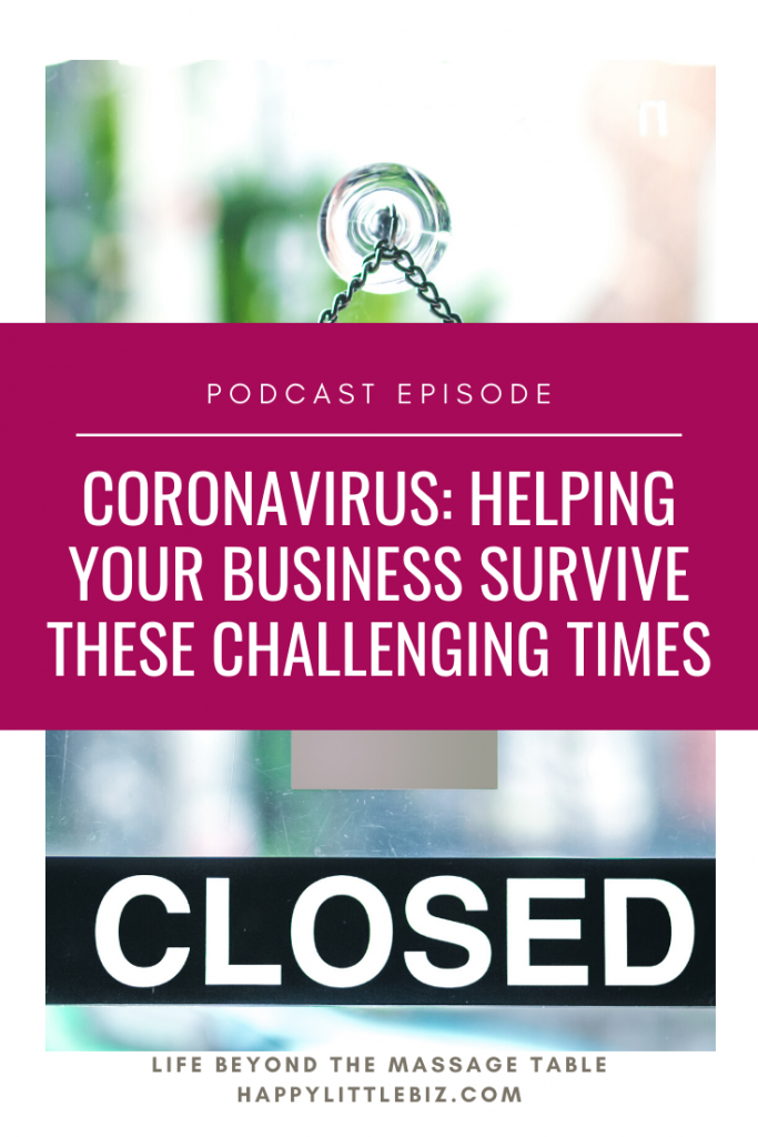Times are challenging right now. We have a global pandemic on our hands, and many of you have had to close your businesses temporarily. So for this week's episode, I'm talking about a variety of ways you can earn some income and keep things going for your massage clinic or other health/wellness business. Some are directly related to your 'regular career', others are just temporary work you can do. I hope this helps you in these tricky, unforeseen times. We're all in this together.