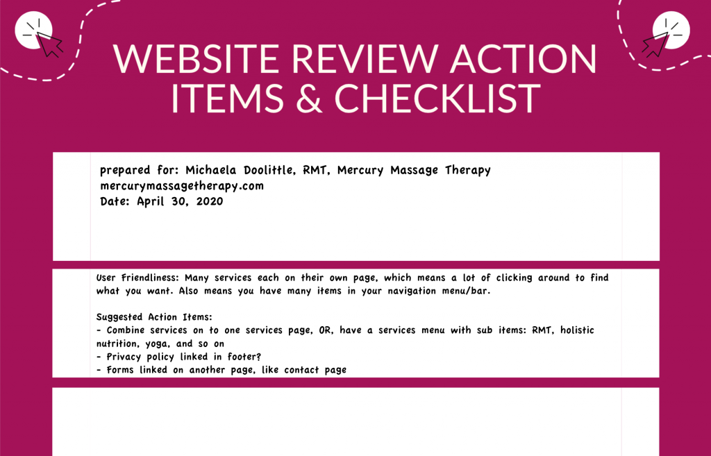 Example of a website review action items checklist